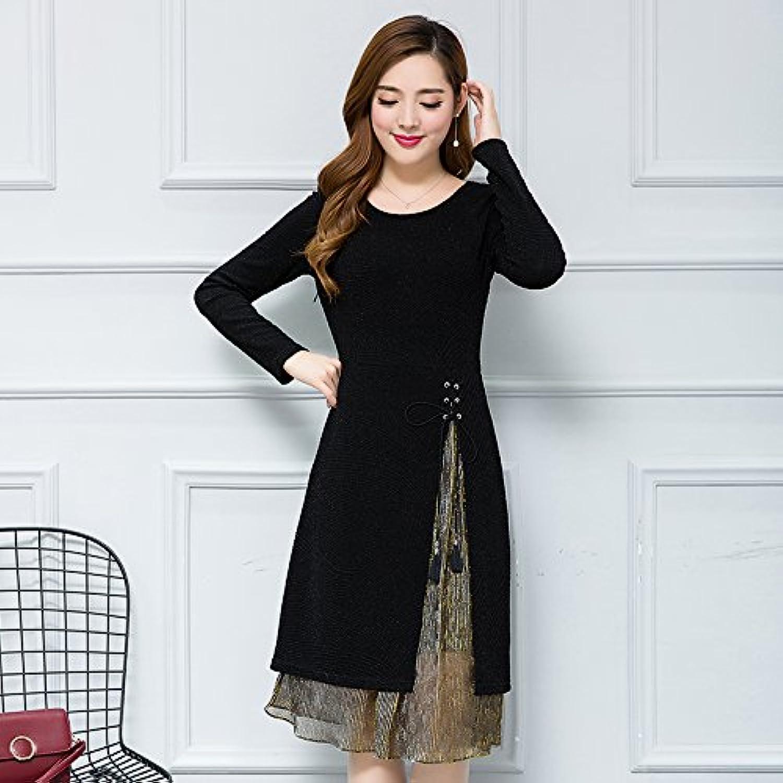 ZHUDJ Long Sleeved T-Shirt Autumn Temperament Slit Thin Long Dress Female