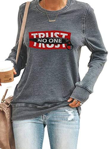 LOSRLY Sudadera informal para mujer, diseño gráfico y letras, manga larga, cuello redondo, ligera, camiseta deportiva