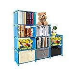 PENGKE Kids Bookshelf 9 Cubes Book Shelf Office Storage Shelf Plastic Storage Cabinet for Book,Plants,Clothes,Shoes,Toys,Blue