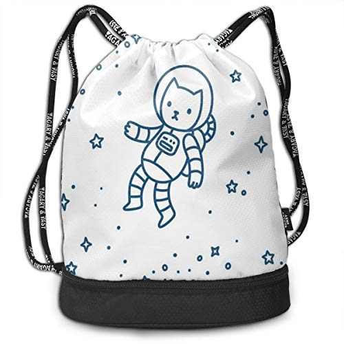 MLNHY Printed Drawstring Backpacks Bags,Cute Cartoon Astronaut Pioneer Cat Flying In Outer Space Doodle Style Constellation,Adjustable String Closure
