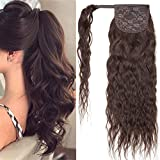 SEGO Ponytail Extension Echthaar Zopf Corn Wavy Clip in Pferdeschwanz Haarteil Haarverlängerung Hair Piece gewellt Dunkelbraun #2 18'(45cm)-90g