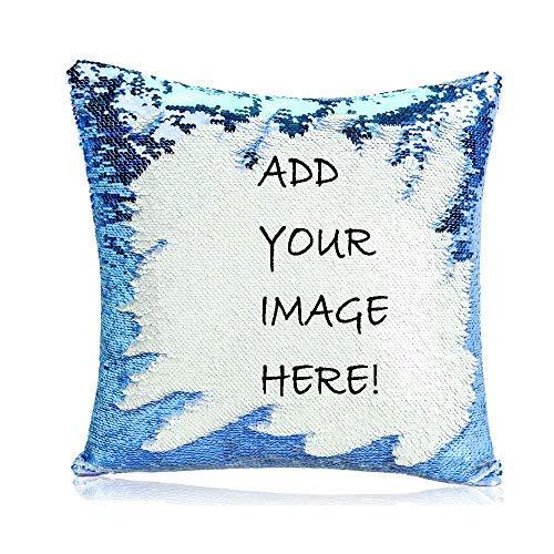 LIWEIXKY Cojín Personalizado con Foto Lentejuelas Funda de Almohada Reversible mágica para decoración del hogar del sofá Azul