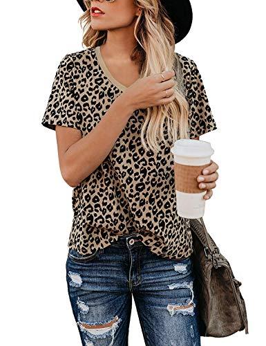 Yidarton Women's T Shirt Leopard Print Tops Short Sleeve Casual Cotton Round Neck Cute Blouse (A-Leopard-v Neck, X-Large)