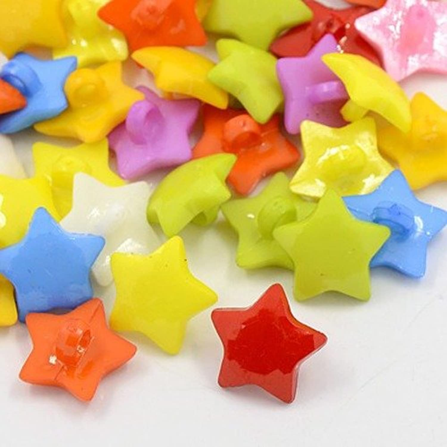 PEPPERLONELY Brand 100PC Mixed Color 1-Hole Faceted Acrylic Shank Dyed Star Buttons 16x3mm(5/8 x 1/8 Inch)