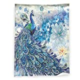 Peacock feather Ultra-Soft Flannel Throw Blanket, Comfortable and Warm Blanket, Microfiber Blankets for Bed, Couch or Travel, Universal in All Seasons 60x50