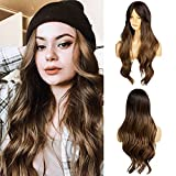 Ebingoo Long Brown Wig for Women Long Wave Dark Brown Wig with Bangs Soft Synthetic Heat Resistant Fiber Wigs for Daily Wear