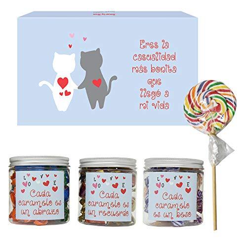 SMARTY BOX Caja Regalo Caramelos y Gominolas San Valentín, Cumpleaños, Pareja, Enamorados, Cesta Golosinas Chuches Dulces sin Gluten, Fabricado en España