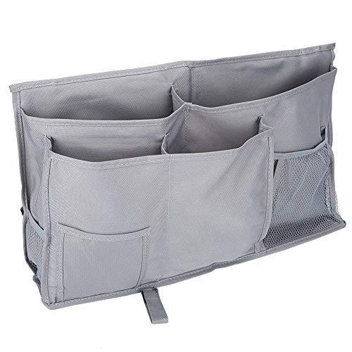 Caddy de cabecera, 8 bolsillos Oxford durable Organizador de almacenamiento colgante multifuncional de la cabecera junto a la cama para cabeceros, rieles de la cama, dormitorios(Gris plateado)