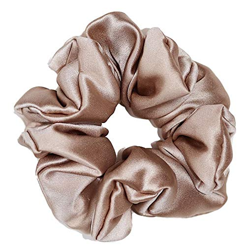 Scrunchie 100% Mulberry Silk 22momme Hair Tie pure natural soft boho vintage style beauty women girls (Beige)