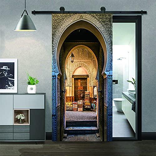 Calle roma,Etiqueta engomada del mural de la puerta del arte moderno 3D vinilo desprendible y pegajoso extraíble (77x200cm) etiqueta engomada de la puerta de la decoración del hogar