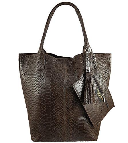 Freyday Damen Echtleder Shopper mit Schmucktasche in vielen Farben Schultertasche Henkeltasche Handtasche Metallic look (Dunkelbraun Snake)