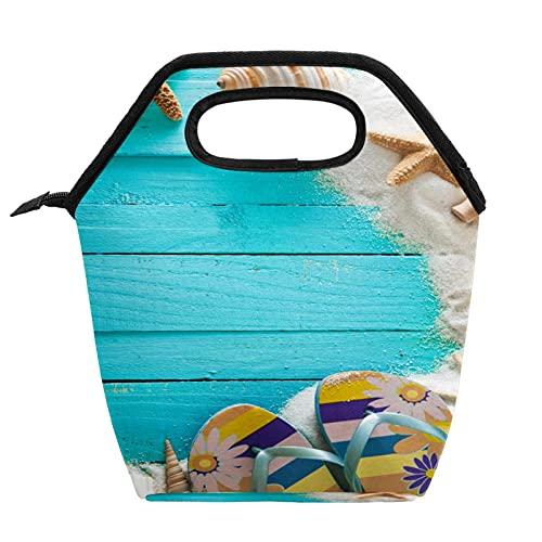 Bolsa de almuerzo portátil Caja de almuerzo de alta capacidad Paquete de comida para trabajo de oficina Viaje escolar Fondo de madera con blancos y conchas de mar estrellas de mar y arena.