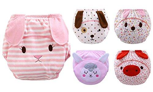 Lote de 5Braguitas de aprendizaje para bebé niña o niño, braga lavable con una capa impermeable, braga de algodón suave, 5 –38meses beige Motivo 1 Talla:24-38mois