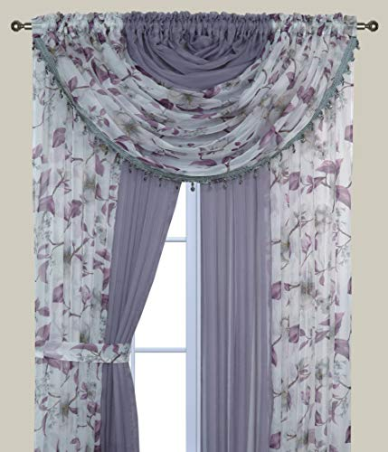 Complete Window Sheer Voile Floral Curtain Panel Set w/4 Attached Panels (55x84' Each) and 2 attached Valances w/Beads and 2 Tiebacks - Easy Installation - Multicolor Purple Flower and Solid Lavender