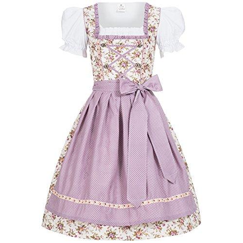 Mufimex Damen Dirndl Kleid Dirndlkleid Trachtenkleid Midi Blümchenstoff JoJo lila 34