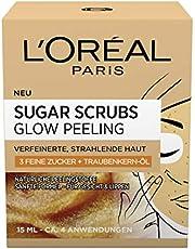 L'Oréal Paris Sugar Scrubs Glow Gezichtspeeling, met Suiker en Druivenpitolie, Voor een Gladde en Stralende Huid, Verpakking van 2 Stuks (2 x 15 ml)