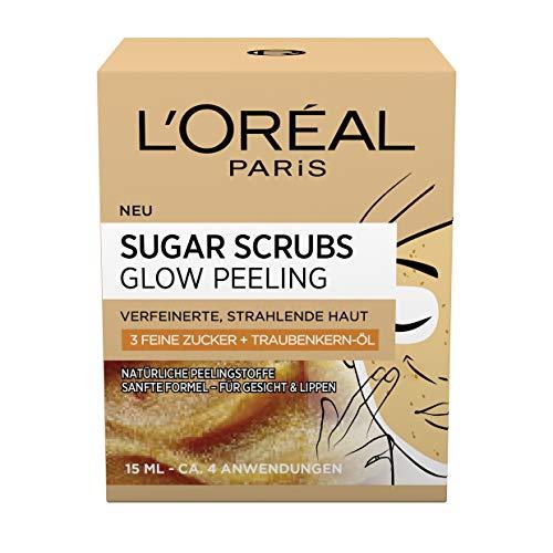 L'Oréal Paris Peeling für Gesicht und Lippen, Mit Zucker und Traubenkern-Öl, Sugar Scrubs Glow Peeling, 2 x 15 ml