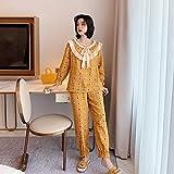 STJDM Bata de Noche,Conjunto de Pijama para Mujer Primavera Suelta de Gran tamaño Ropa para el hogar Pantalones de Manga Larga Características Coreanas japonesas Lazo de Encaje L Amarillo