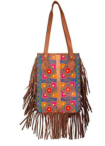Boho Leather Fringe Tassel Tote Shoulder Bag Travel Roomy Casual Everyday School Laptop Hippie (Boho Fringe Leather)