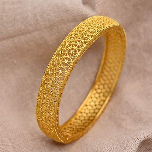 24 Karat Dubai Gold Armreifen Für Frauen Gold Dubai Braut Hochzeit Äthiopisches Armband Afrika Armreif Arabischer Schmuck Gold Charm Kinder Armband