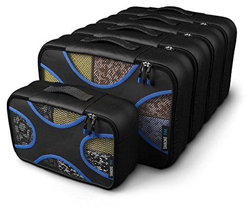 Shacke Pak - 5 Set Packing Cubes - Medium/Small – Luggage Packing Travel Organizers (Black/Blue)