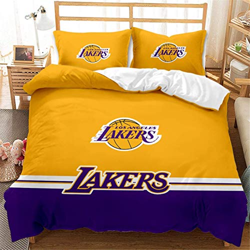 HMT NF Lakers Basketball Duvet Cover Set King Bedding Set for Kids Teen Boys NBA Sports Fans Bedroom Queen Size 1 Duvet Cover with 2 Pillowcases