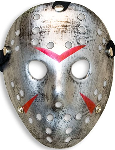 HomeTools.eu® - Halloween Maske, Kostüm Horror Hockey Myers Gesichts-Maske, Fasching, Karneval, Grusel-Kostüm Hockey-Maske Fratze, Shabby Silber