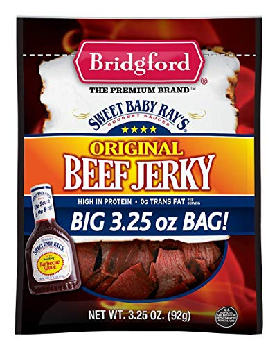 Bridgford Sweet Baby Ray's Original Beef Jerky, High Protein, Zero Trans Fat, Made With 100% American Beef, 3 Oz, Pack of 3
