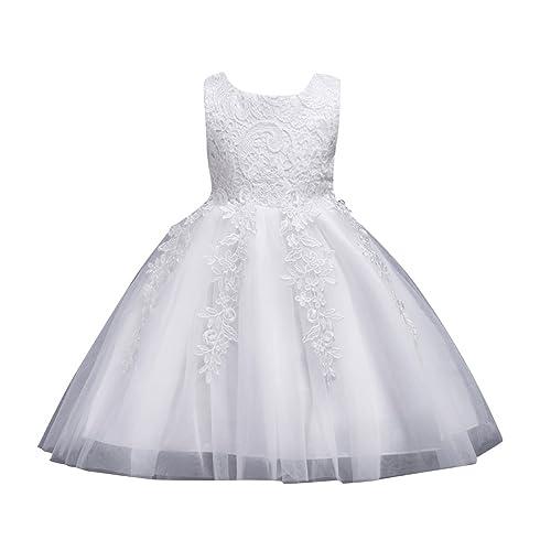 7022de5b3619 Qitun Ragazze Pizzo Tulle Vestito Lungo Bambina Elegante Principessa Abito  Cerimonia Abiti da Sera Matrimonio