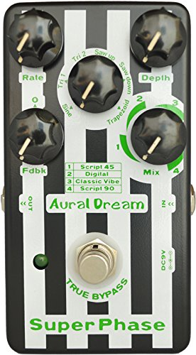 Aural Dream Super Phase Guitar Effect Pedal with 4 modes and 6 waves including 2 feedback modes reaching 48 phase effects true bypass