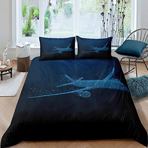 Erosebridal Teens Aircraft Bedding Set, 3D Airplane Duvet Cover for Kids Boys Girls Blue Bling Luxury Comforter Cover Full Size Science Technology Theme Bedspread Cover 3 Pcs with 2 Pillow Cases