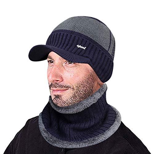 YXIU Herren Winter Warme Mütze Gestrickte Beanie Mütze mit Schirm Strickmütze Schal 2 Stücke Set (Marine)
