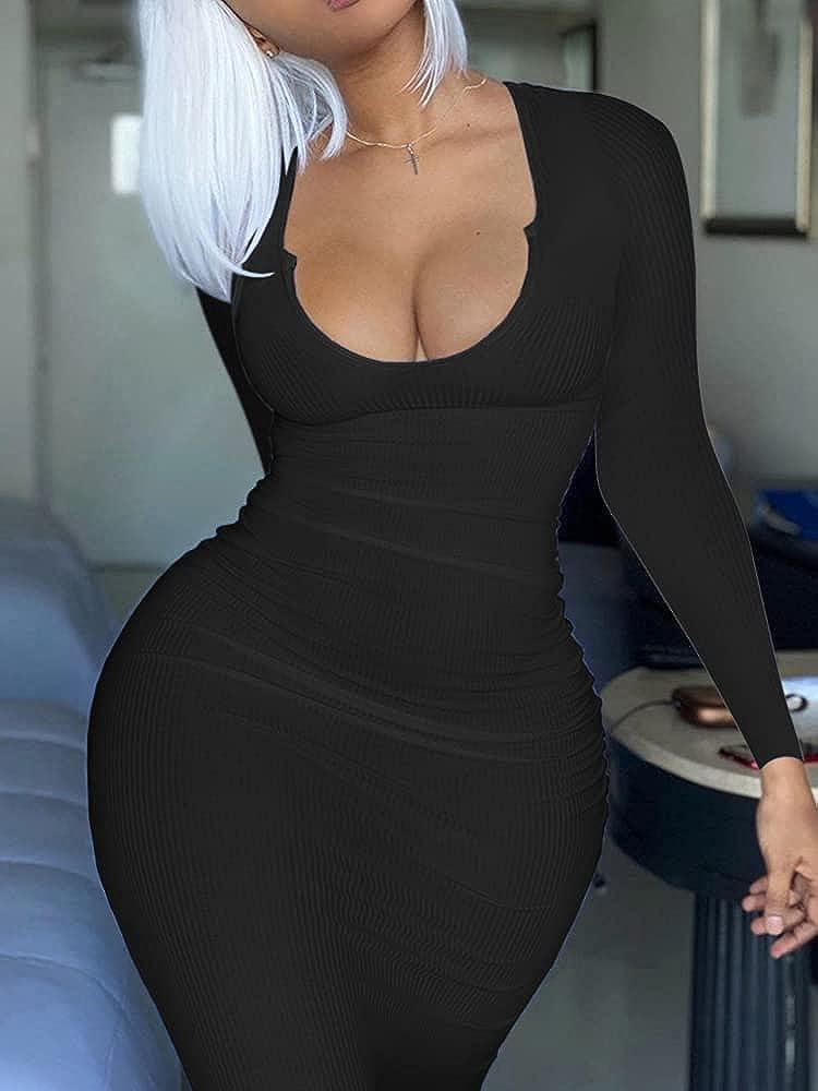 Mulisky Women's Sexy Bodycon Maxi Dress Deep V Neck Long Sleeve Ribbed Midi Party Club Dress