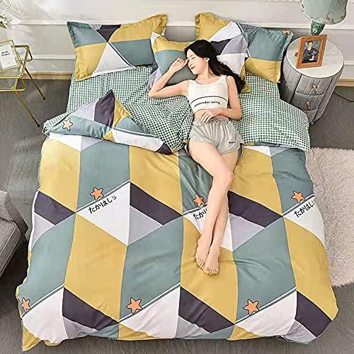 RHXJ Ropa de cama para todas las estaciones, diseño clásico, moderno, transpirable, ropa de cama ligera, almohadas decorativas con rayas de diamante