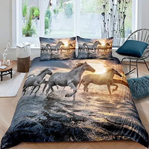 Juego de cama de tres caballos blancos a través del río, funda de edredón para niños, adolescentes, niños, jóvenes, animales exóticos, colchas con 1 funda de almohada, color dorado