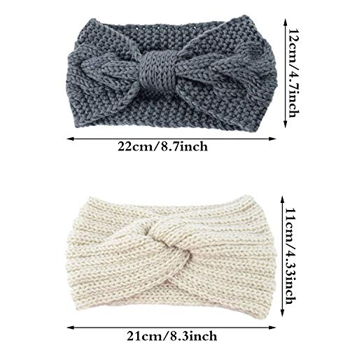 4 Packs Women Winter Ear Warmer Headbands Thermal Chunky Knitted Headband Soft Crochet Braided Hairband Elastic Twist Bowknot Turban Head Wrap for Women Girls