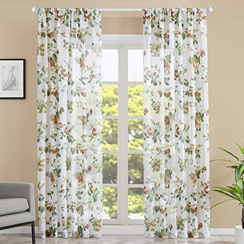 Brown Floral Print Sheer Curtains Living Room Flower Leaf Printed 72 inches Long Cotton Blend Curtain Window Treatment Voile Bedroom Curtain Panels Rod Pocket Drapes 2 Panels