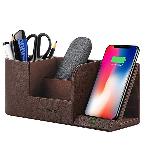 EasyAcc Wireless Charger Desk Organizer Wireless Charging Station for iPhone 11 Pro X XS MAX XR 8 Plus and Samsung S7 Edge S8 S9 Plus Note 8 9and More, Desk Storage Caddy Pen Pad Holder