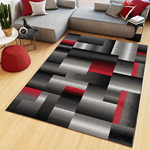 TAPISO Maya Tapis de Salon Chambre Ado Design Moderne Noir Gris Rouge Géométrique Rayures Moucheté Fin 120 x 170 cm