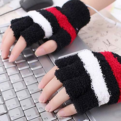 Feccile USB Heating Winter Wool Gloves Gamers Hand Warm Gloves Heated Fingerless Warmer Mitten-Low Power Consumption-Open-end Design-Thoughtful Gift