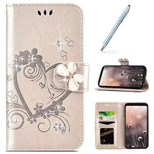Robinsoni pour Huawei Y5 II Coque, Glitter Strass Fleur Amour Motif Housse Etui en Cuir PU Portefeuille Coque à Rabat Magnétique Porte Carte Clapet Intégrale Flip Support Coque,Or