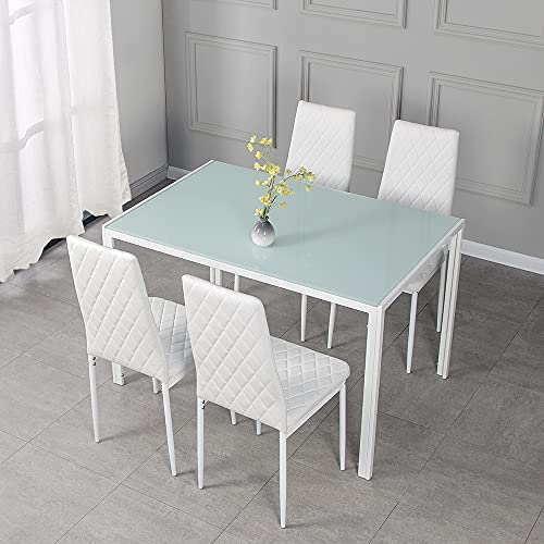 Panana GlassDining Table Set and 4 Soft Black Leather Chairs Seats Kitchen Home Set (White 105cm+ 4chairs B)