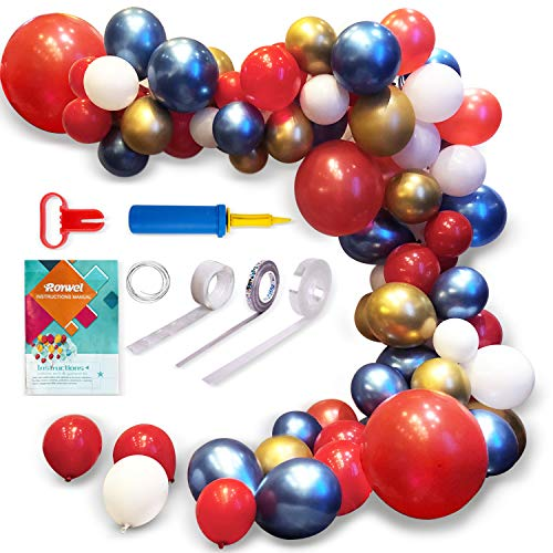 Roywel Party Supplies Decorati Balloons for Parties,Garland Latex Balloon Arch Ganland Kit | Red | Blue | Gold | White Balloons for Baby Showers, Weddings, Graduations, Corporate Events, Engagements