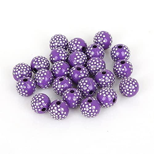 MURUI QZX1 100 Piezas/Lote 8 mm Brillante Brillante acrílico acrílico Espaciador Suelto DIY Beads para los hallazgos de la joyería Joyería Que Hace Pulsera Yc0322 (Color : Dark Purple)