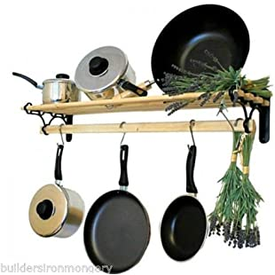 IRONMONGERY WORLD Traditional Country Kitchen shelf pot pan rack holder Hanger with cast iron ends (ANTIQUE IRON/PEWTER 0.9M/3 FOOT):Interoot