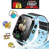 Ellbeka Smartwatch para Niños, Llamada de Emergencia SOS, localizador GPS, Perímetro de Seguridad, Cámera, Alarma, Linterna, Juegos Digitales, Reloj Inteligente para niños de 3-14(Azul)