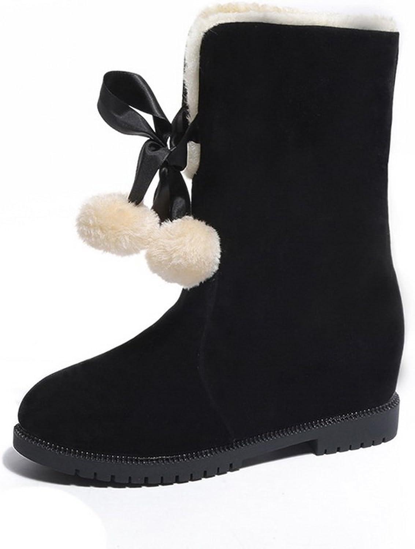AdeeSu Womens Slouch Pom-Poms No-Closure Suede Boots SXC02411