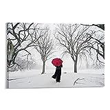 Póster artístico de escena de invierno con paraguas rojo en la nieve, lienzo decorativo para la pared de la sala de estar, carteles de dormitorio, 30 x 45 cm