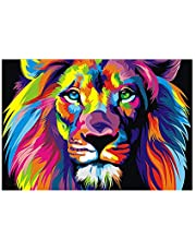 Roloiki Diamond Painting Diy 5D Colorful Lion Diamond Painting Cube Round Shape Full Drilled Diamond Paintings Kits Arts Craft For Room Wall Decoration One Size B