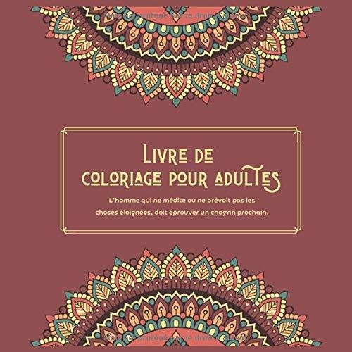 Livre de coloriage pour adultes - L'homme qui ne médite ou ne prévoit pas les choses éloignées, doit éprouver un chagrin prochain. (Mandala, Band 1)